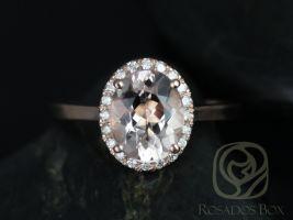 Rosados Box Charlotte 10x8mm Rose Gold Oval Morganite and Diamond Halo Engagement Ring