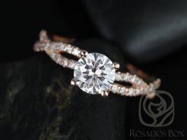 Rosados Box Chloe 6.50mm 14kt Rose Gold Round F1- Moissanite & Diamond Twist Engagement Ring