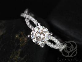 Rosados Box Chloe 6.5mm 14kt White Gold Round F1- Moissanite & Diamond Twist Engagement Ring