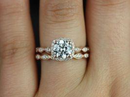 Rosados Box Christie 6.5mm 14kt Gold F1- Moissanite and Diamond Halo WITHOUT Milgrain Wedding Set