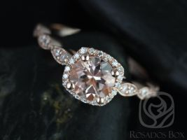 Rosados Box Christie 6mm 14kt Rose Gold Round Morganite and Diamond Cushion Halo WITH Milgrain Engagement Ring
