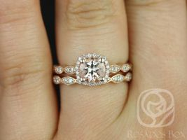 Rosados Box Christie 6mm 14kt Rose Gold Morganite Engagement Ring w/ Diamonds Cushion Halo WITH Milgrain