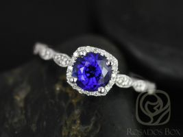 Rosados Box Christie 6mm 14kt White Gold Round Blue Sapphire and Diamond Cushion Halo WITH Milgrain Engagement Ring