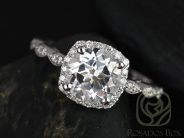 Rosados Box Christie 8mm 14kt White Gold Round White Topaz and Diamonds Halo WITHOUT Milgrain Engagement Ring