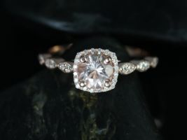 Rosados Box Christie 6mm Rose Gold Round Morganite Cushion Halo WITHOUT Milgrain Engagement Ring