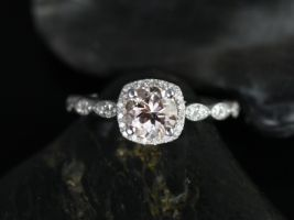 Rosados Box Christie 6mm 14kt White Gold Round Morganite and Diamonds Cushion Halo WITH Milgrain Engagement Ring