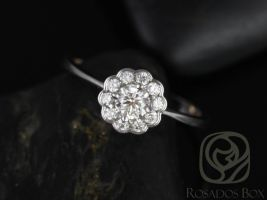 Rosados Box Conflict Free Magnolia Medio Size WITHOUT Hand Milgrain Beading 14kt Floral Diamonds Cluster Engagement Ring