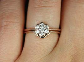 Rosados Box Daisy Rose Gold Flower Diamond WITHOUT Milgrain Cluster Wedding Set