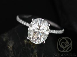 Rosados Box Darcy 10x8mm 14kt White Gold Oval F1- Moissanite and Diamonds Classic Engagement Ring