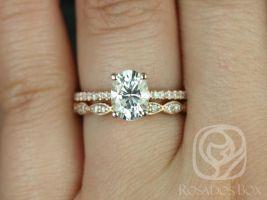 Rosados Box Darcy 8x6mm & Christie 14kt Rose Gold Oval F1- Moissanite and Diamonds Wedding Set