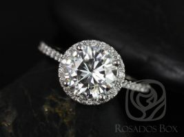 Rosados Box DIAMOND FREE Kubian 8mm14kt White Gold Round F1- Moissanite and White Sapphires Halo Engagement Ring