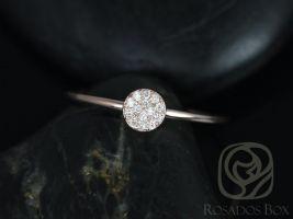 Rosados Box Diskco 14kt Rose Gold Petite Round Disk Diamond Pave Ring