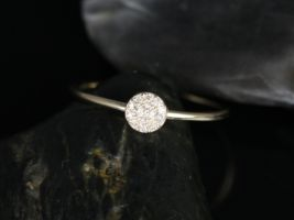 Rosados Box Diskco 14kt Yellow Gold Petite Round Disk Diamond Pave Ring