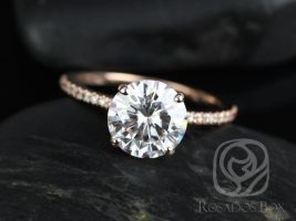 Rosados Box Dorothy 8mm 14kt Rose Gold Round F1- Moissanite and Diamonds Non-Cathedral Classic Engagement Ring