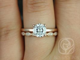 Rosados Box Ella 7mm & Christie 14kt Rose Gold Round F1- Moissanite and Diamonds Wedding Set