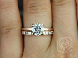 Rosadso Box Ella 7mm & Gabriella 14kt Rose Gold Round F1- Moissanite and Diamonds Wedding Set