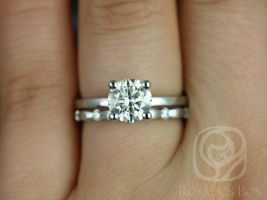 Rosados Box Ella 7mm & Juno 14kt White Gold Round F1- Moissanite and Diamonds Wedding Set