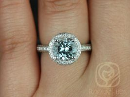 Rosados Box Ellen 8mm 14kt White Gold Round Aquamarine and Diamonds Pave Halo Engagement Ring