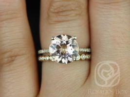 Rosados Box Eloise 10mm & Petite Bubbles Yellow Gold Round Morganite and Diamonds Wedding Set
