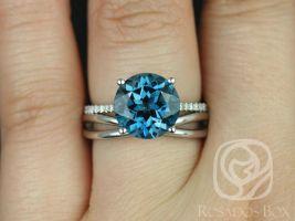 Rosados Box Eloise 10mm & PLAIN Skinny Lima 14kt White Gold Round London Blue Topaz and Diamonds Wedding set