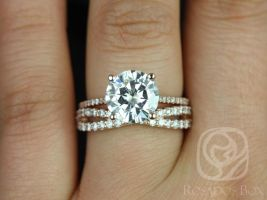 Rosados Box Eloise 9mm & Lima 14kt Rose Gold Round F1- Moissanite and Diamonds Cathedral Wedding Set