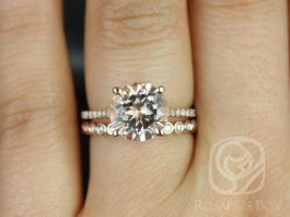 Rosados Box Eloise 9mm & Petite Bubbles 14kt Rose Gold Round Morganite and Diamonds Cathedral Wedding Set