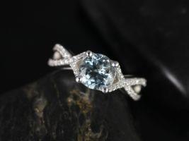 Rosados Box Emma 7mm 14kt White Gold Round Aquamarine & Diamonds Vintage Pave Engagement Ring