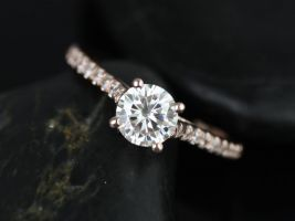 Rosados Box Eva 6mm 14kt Rose Gold Round F1- Moissanite and Diamonds Cathedral Engagement Ring