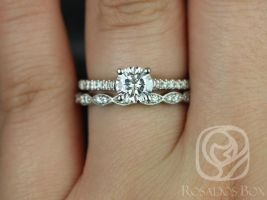 Rosados Box Jenelle 7.5mm & Christie 14kt White Gold Cushion F1- Moissanite and Diamonds Cathedral Wedding Set