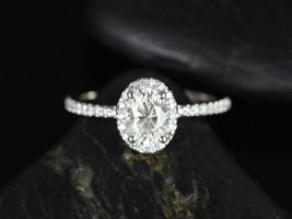 Rosados Box Federella 7x5mm 14kt White Gold Oval F1- Moissanite and Diamonds Halo Engagement Ring