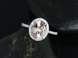 Rosados Box Federella 10x8mm 14kt White Gold Oval Morganite and Diamonds Halo Engagement Ring