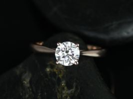 Rosados Box Flora 6mm Rose Gold Round F1- Moissanite Tulip Cathedral Engagement Ring