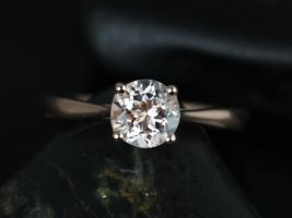 Rosados Box Flora 6mm Rose Gold Round Morganite Tulip Cathedral Solitaire Engagement Ring