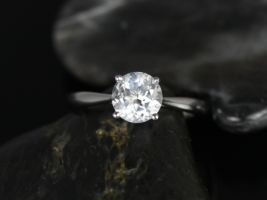 Rosados Box Flora 6mm 14kt White Gold Round White Topaz Tulip Cathedral Engagement Ring