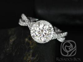 Rosados Box Gabi 7mm 14kt White Gold Round F1- Moissanite & Diamond Twist Halo Engagement Ring