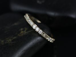 Rosados Box Gabriella 14kt Yellow Gold Round and Baguette Bars Diamond WITH Milgrain ALMOST Eternity Band