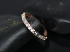 Rosados Box Gabriella 14kt Rose Gold Round and Baguette Bars Diamond WITH Milgrain ALMOST Eternity Band