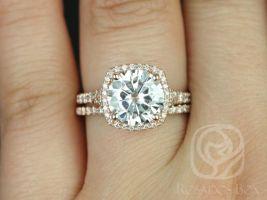 Rosados Box Giselle 9mm 14kt Rose Gold Round F1- Moissanite and Diamonds Halo Split Shank Classic Wedding Set