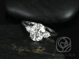 Rosados Box Gloria 9x7mm 14kt White Gold Oval F1- Moissanite and Diamonds 3 Stone Engagement Ring