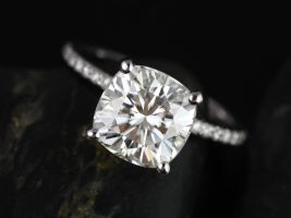 Rosados Box Heidi 9mm White Gold Cushion F1- Moissanite and Diamond Basket Engagement Ring