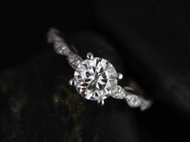Rosados Box Helena 6.5mm 14kt White Gold Round F1- Moissanite and Diamonds Engagement Ring