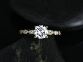 Rosados Box Helena 6mm 14kt Yellow Gold Round F1- Moissanite and Diamonds Engagement Ring
