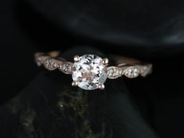 Rosados Box Helena 6mm 14kt Rose Gold Round Morganite and Diamond Engagement Ring