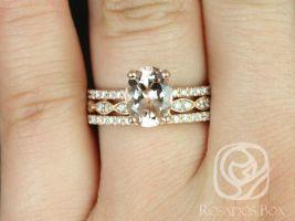 Rosados Box Hillary 9x7mm & Christie 14kt Rose Gold Oval Morganite and Diamonds Halo TRIO Wedding Set