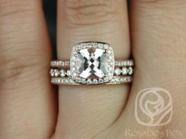 Rosados Box Hollie 9mm & Petite Naomi 14kt Rose Gold Cushion Morganite and Diamonds Halo TRIO Wedding Set