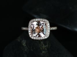 Rosados Box Hollie 9mm 14kt Rose Gold Cushion Morganite and Diamonds Halo Engagement Ring