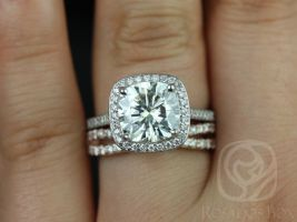 Rosados Box Hollie 9mm and Lima 14kt White & Rose Gold Cushion F1- Moissanite and Diamonds Halo Wedding Set