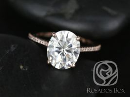 SALE Rosados Box Ready to Ship Blake 11x9mm 14kt Rose Gold Oval FB Moissanite Diamonds Thin Cathedral Solitaire Engagement Ring