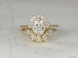 Rosados Box Oksana 8x6mm & Petunia 14kt Yellow Gold Oval F1- Moissanite Diamond White Sapphire Bezel Crescent Sunrays Wedding Set