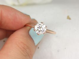 Rosados Box 1.25ct Edith 7mm 14kt Rose Gold Round Forever One Moissanite Dainty Thin 6 Prong Engagement Ring